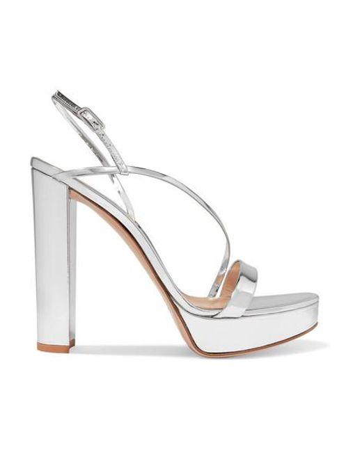 Gianvito Rossi Metallic 100 Mirrored-leather Platform Sandals