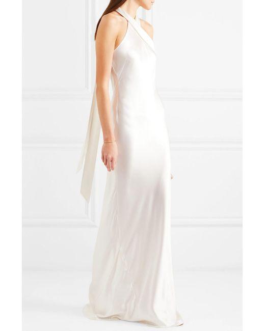 Lyst - Galvan Silk-satin Halterneck Gown in White