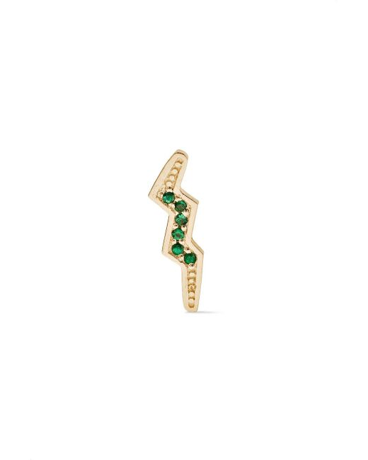 Andrea Fohrman - Metallic Mini Bolt 14-karat Gold Emerald Earring - Lyst