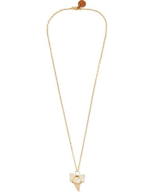 Sirconstance White Shark Tooth And Gold-plated Necklace
