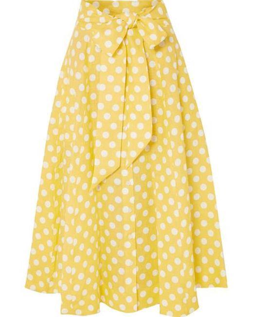 Lisa Marie Fernandez - Yellow Polka-dot Linen Midi Skirt - Lyst