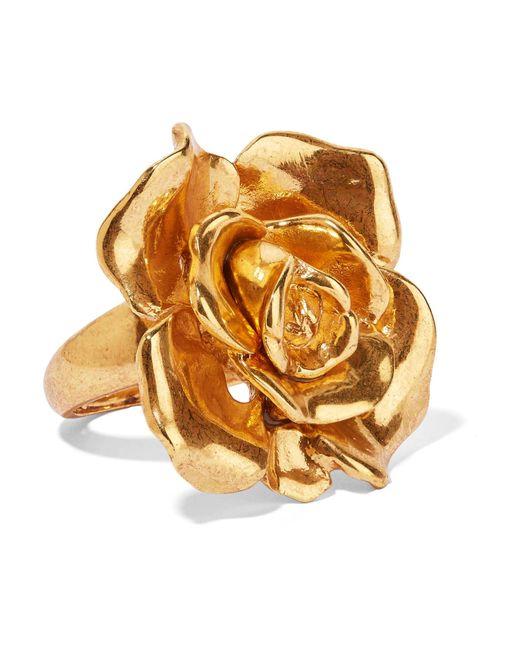 Oscar de la Renta | Metallic Rosette Gold-tone Ring | Lyst