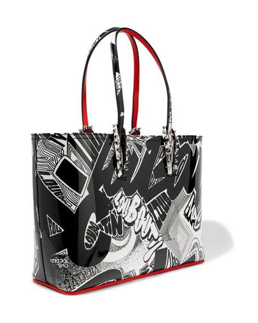 46582161330 Women's Black Cabata Small Spiked Printed Patent-leather Tote
