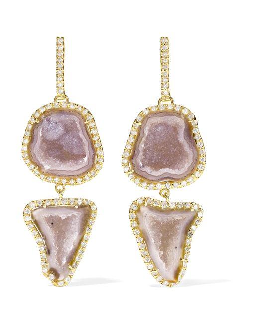 Kimberly Mcdonald - Metallic 18-karat Gold, Geode And Diamond Earrings Gold One Size - Lyst