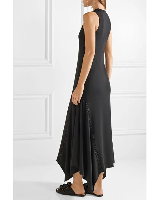 Ojoie Silk Satin-paneled Stretch-cady Midi Dress - Black The Row Cheap Sale Wiki Discount Official Site Manchester Great Sale Sale Online Cheap Sale Visit New Cheap Sale Shopping Online gK9r8nbx