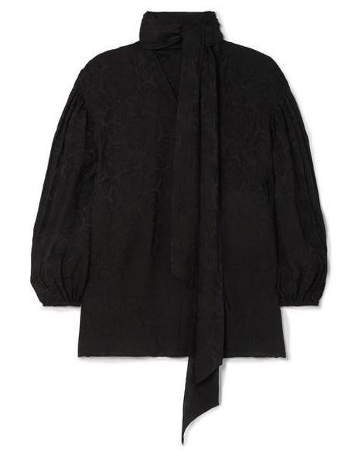 Chloé Black Plissé-jacquard Blouse