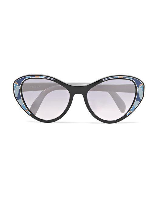 d7265b3fdde8 ... where can i buy prada blue cat eye acetate mirrored sunglasses lyst  dbdb7 da5a7 ...