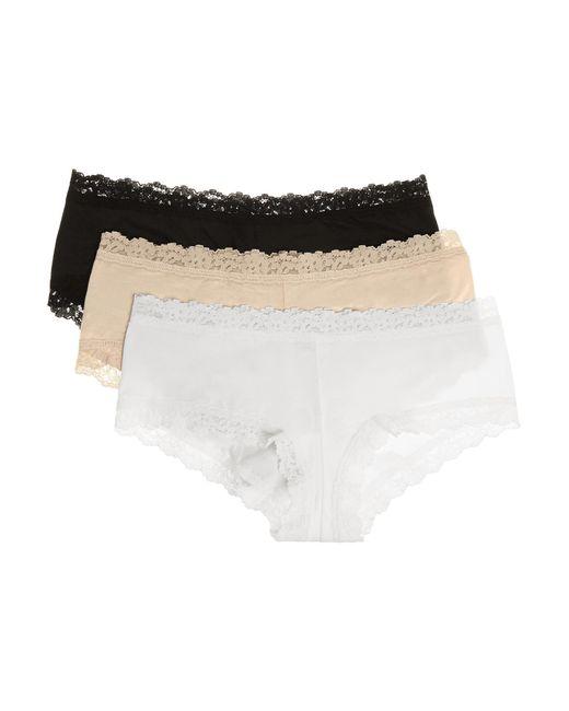 Hanky Panky - Black Set Of Three Lace-trimmed Stretch-organic Cotton Jersey Boy Shorts - Lyst