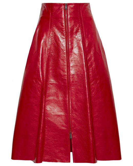 Fendi | Red Leather Midi Skirt | Lyst