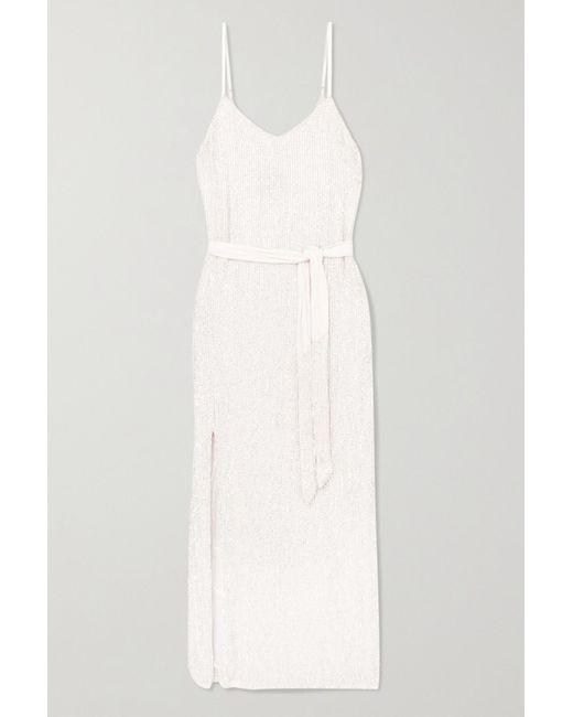 retroféte White Rebecca Velvet-trimmed Sequined Chiffon Dress