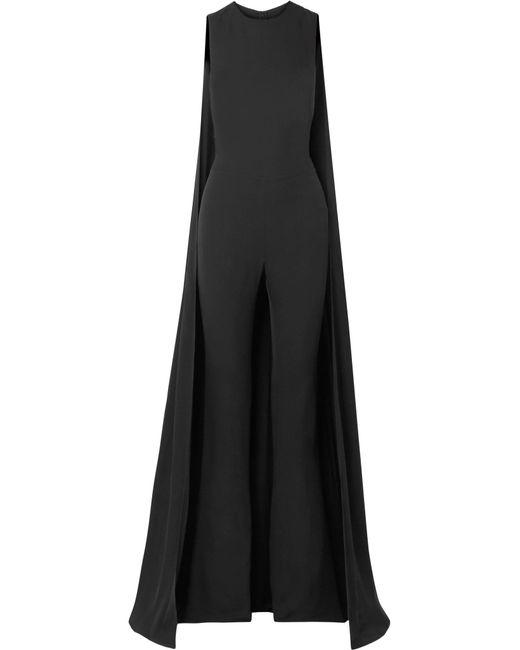 Tom Ford - Black Cape-effect Silk-georgette Jumpsuit - Lyst