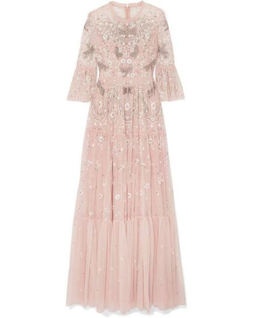 Needle & Thread Pink Dragonfly Garden Embellished Embroidered Tulle Gown