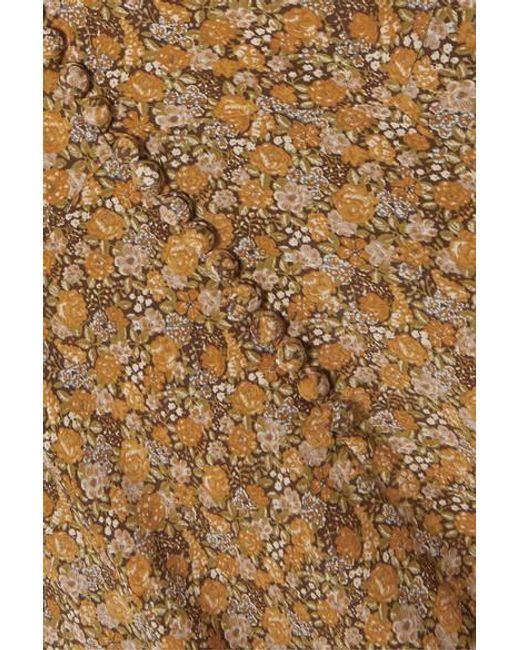 Doen Multicolor Laurel Asymmetrisches Maxikleid Aus Crêpe De Chine Aus Seide Mit Blumenprint