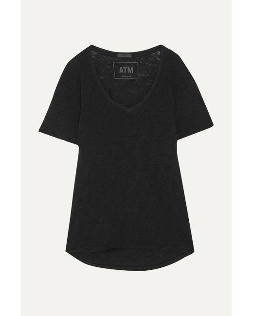 ATM Black Boyfriend T-shirt Aus Flammgarn-jersey Aus Baumwolle