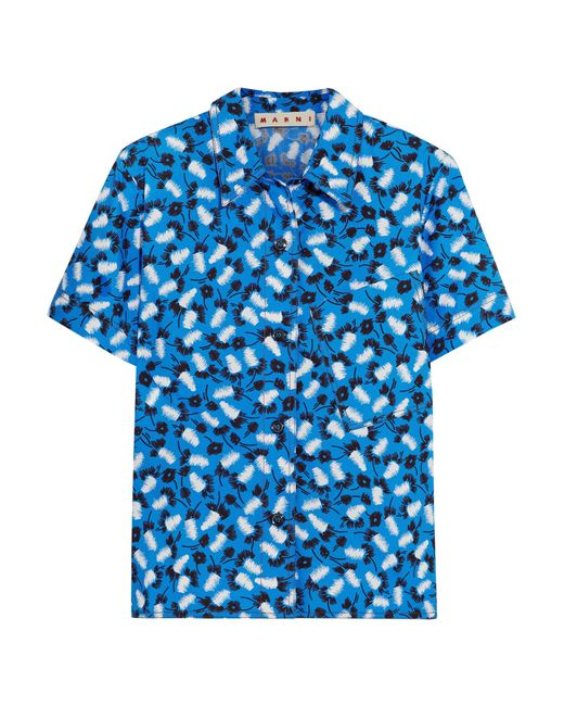 Marni | Blue Printed Cotton-poplin Shirt | Lyst