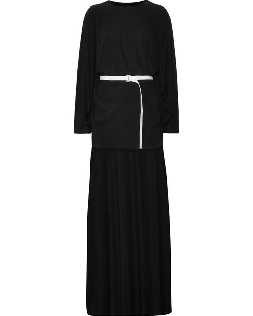 Norma Kamali | Black Belted Asymmetric Jersey Dress | Lyst