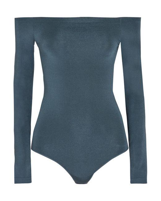 Wolford | Blue Sheen Light Off-the-shoulder Stretch-knit Bodysuit | Lyst