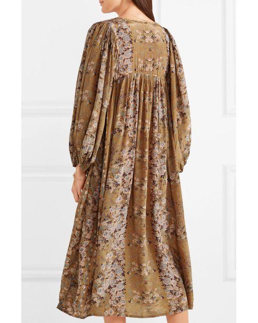 Jalon Floral-print Crepe Midi Dress - Sage green Mes Demoiselles... Buy Cheap 100% Authentic Manchester Great Sale Cheap Online 2Pyta