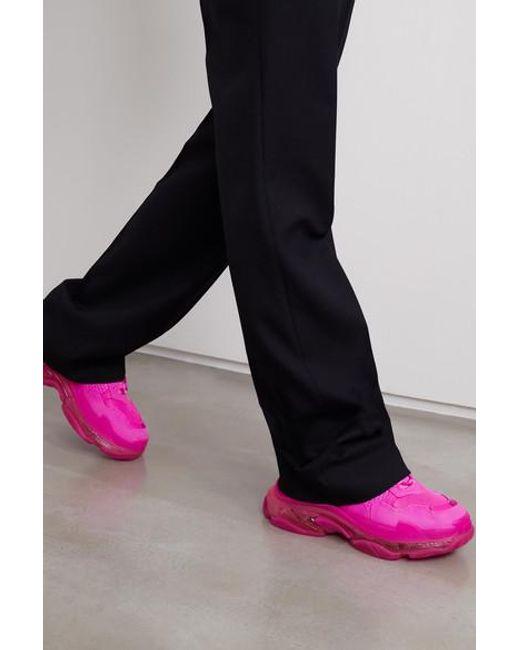 Baskets En Mousse Et En Résille À Logo Triple S Clear Sole Balenciaga en coloris Pink