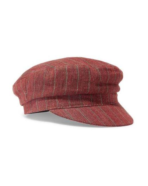 44d8251ab6e6 Isabel Marant - Orange Evie Striped Linen Cap - Lyst ...