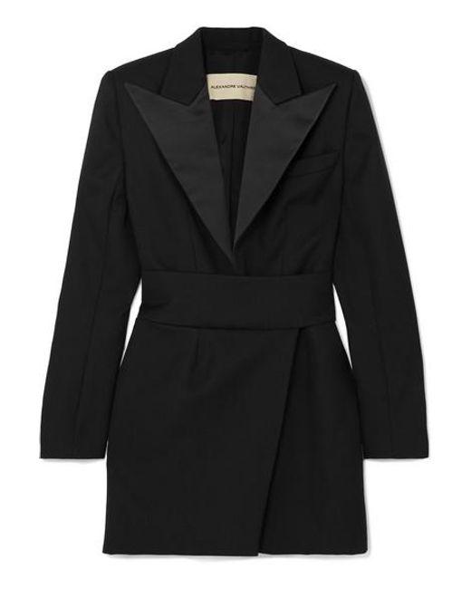 Mini-robe En Laine Grain De Poudre À Finitions En Satin Alexandre Vauthier en coloris Black