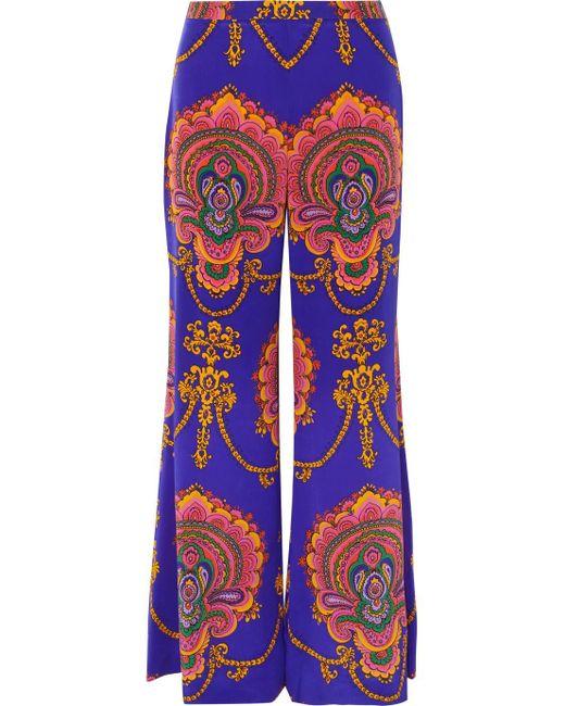 Gucci - Purple Printed Silk Crepe De Chine Wide-leg Pants - Lyst