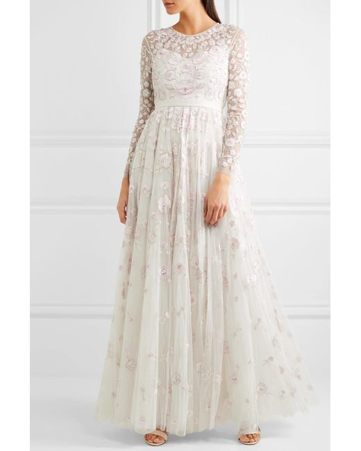 Embellished Tulle Gown - Ivory Needle & Thread YssCIN0ERY
