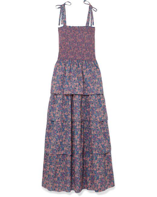 LoveShackFancy - Blue Caressa Smocked Tiered Floral-print Cotton Maxi Dress - Lyst