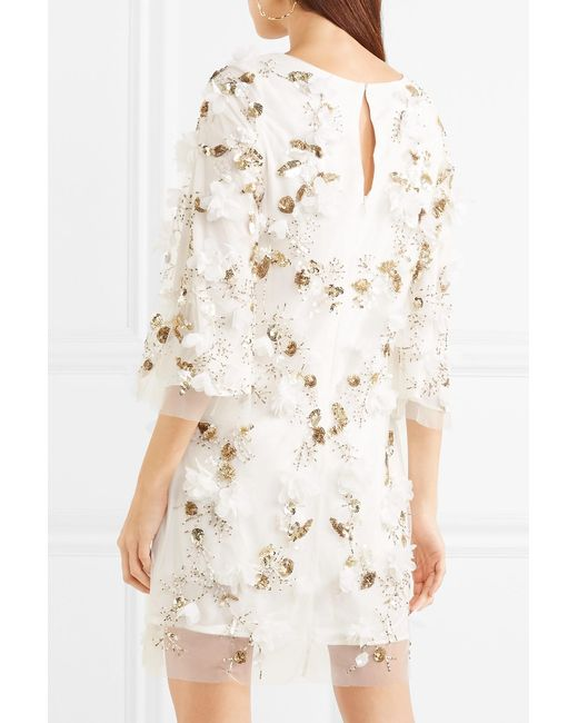 Embellished Tulle Mini Dress - White Marchesa Cheap Sale Great Deals Free Shipping Very Cheap Buy Cheap Supply Discount Best Seller N1TYP