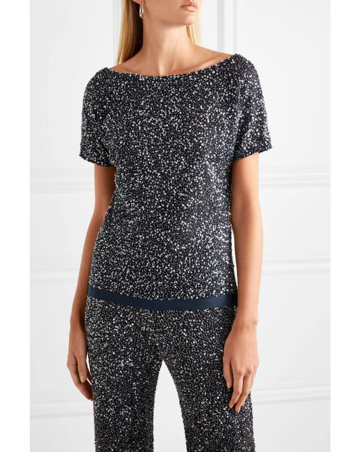 Bay Embellished Tulle Top - Blue Jenny Packham Real 2018 Discount  Buy Online New Sale Best Store To Get Cheap Sale Marketable jUTdEbbae