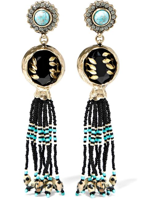 Etro | Black Embellished Gold-plated Earrings | Lyst
