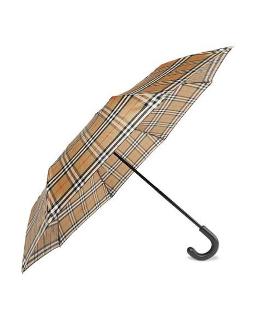Burberry Natural Trafalgar Checked Shell Umbrella