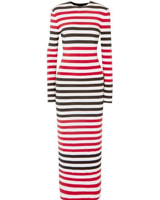 Norma Kamali - Red Striped Stretch-jersey Maxi Dress - Lyst