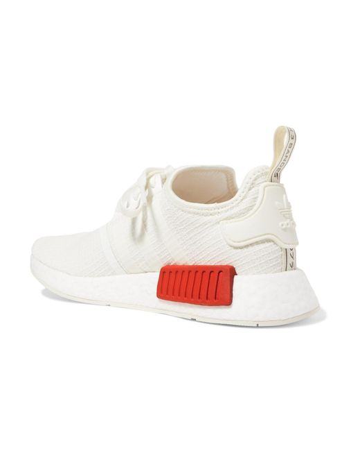 9253b7cb7 ... Adidas Originals - White Nmd R1 Rubber-trimmed Primeknit Sneakers - Lyst  ...