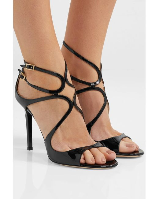 Patent Lang In Lyst 100 Leather Sandals Choo Jimmy Black 7xqEPRwvI
