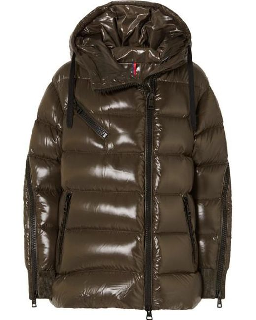 Moncler Green Liriope Quilted Glossed-shell Down Jacket