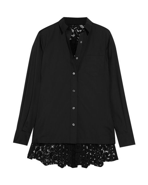Sacai | Black Poplin And Pleated Lace Shirt | Lyst