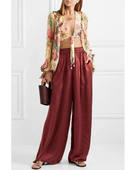 6e5b1b7034 ... Zimmermann - Red Washed Silk-satin High-rise Wide-leg Pants - Lyst ...
