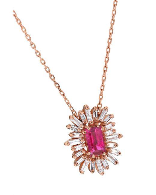 0d9cdbb722 ... Suzanne Kalan - Metallic 18-karat Rose Gold, Ruby And Diamond Necklace  Rose Gold ...