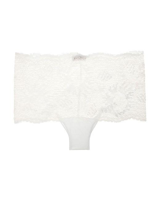La Perla - White Topaz Metallic Stretch-leavers Lace And Jersey Briefs - Lyst