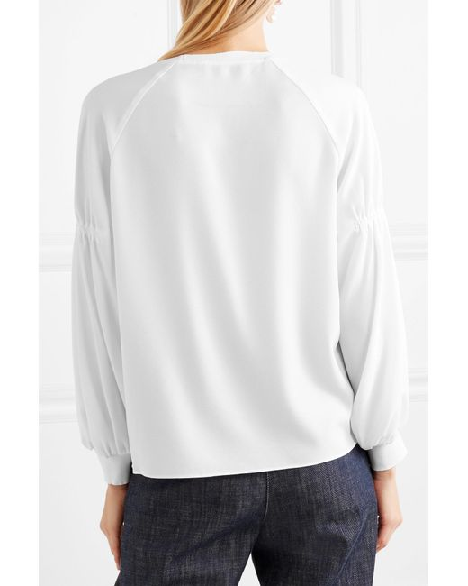 Ribbed Jersey-trimmed Crepe Top - White Tibi Shipping Discount Sale Low Cost Sale Online Cheap Price Store Outlet With Mastercard XQst0