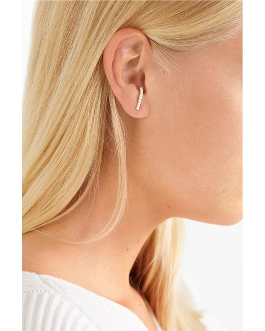 Hirotaka Metallic 10 Karat Gold Pearl Earring Lyst