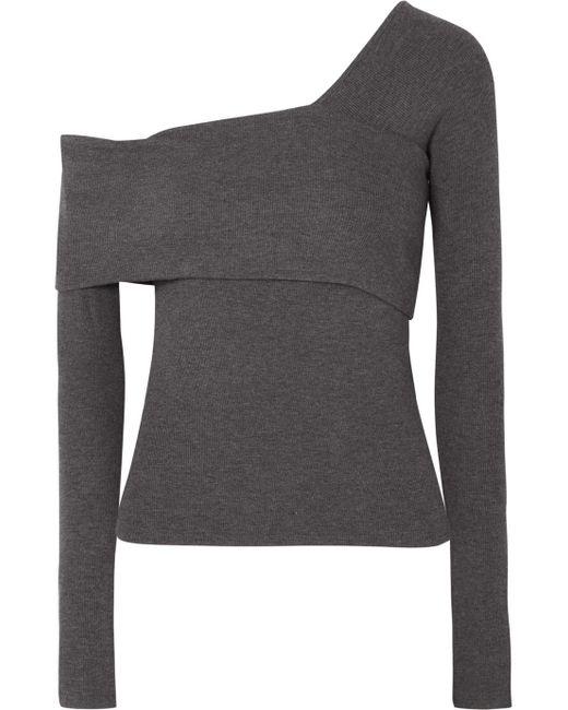 Beaufille - Gray Loretta Asymmetric Ribbed Stretch-knit Top - Lyst