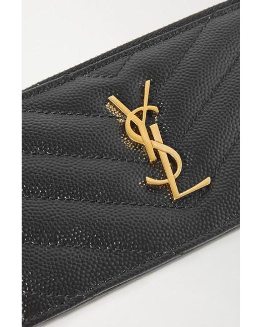 Saint Laurent Black Monogramme Kleines Portemonnaie Aus Gestepptem Strukturiertem Leder