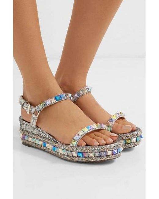 19c8b995c92 Women's Pyraclou 60 Spiked Metallic Cracked-leather Wedge Sandals