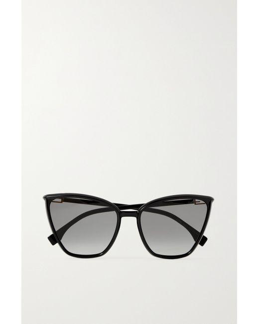 Fendi Black Sonnenbrille Mit Cat-eye-rahmen Aus Azetat Mit Goldfarbenen Details