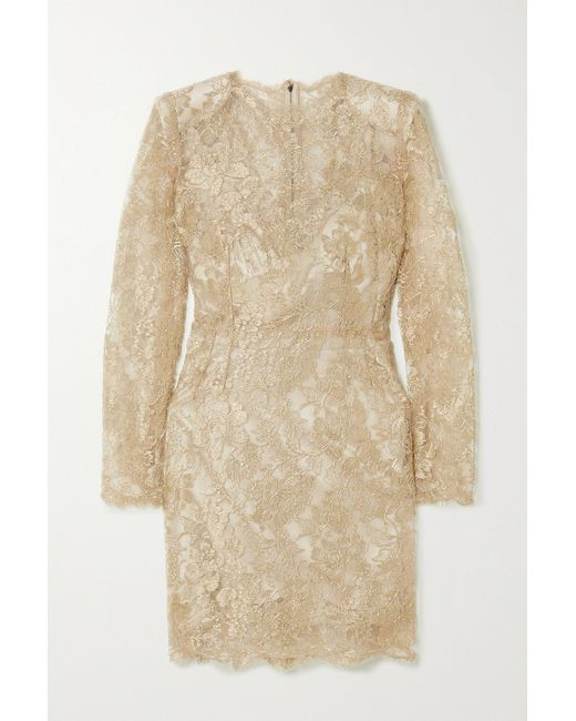 Dolce & Gabbana Metallic Chantilly Lace Mini Dress