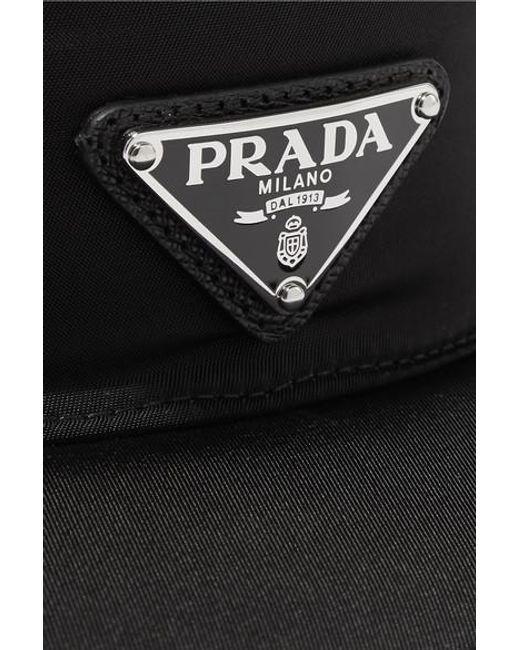 Prada Black Visor Aus Nylon Mit Applikation