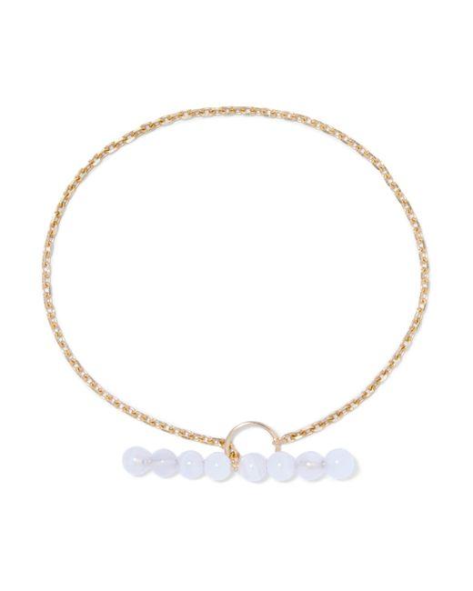 Saskia Diez   Metallic Barbelle Sky Gold-plated Chalcedony Bracelet   Lyst