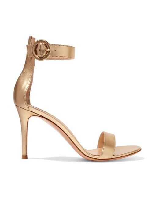Gianvito Rossi | Portofino Metallic Leather Sandals | Lyst